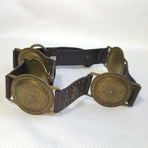 Studded Leather and metal disc belt